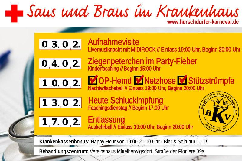 Programmkalender des Herschdurfer Karnevalsvereins