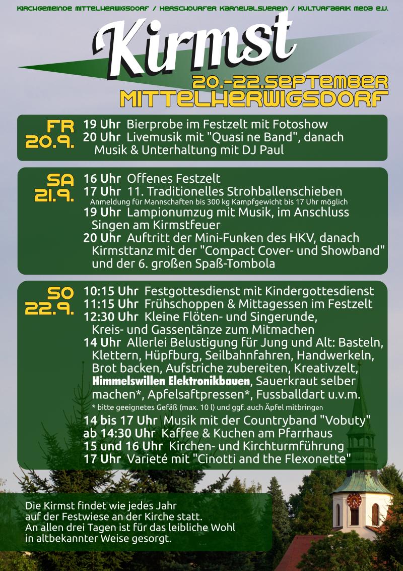 Flyer zur Kirmst 2019 in Mittelherwigsdorf